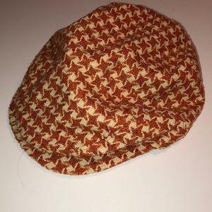 BURNT ORANGE HOUNDSTOOTH NEWSBOY HAT